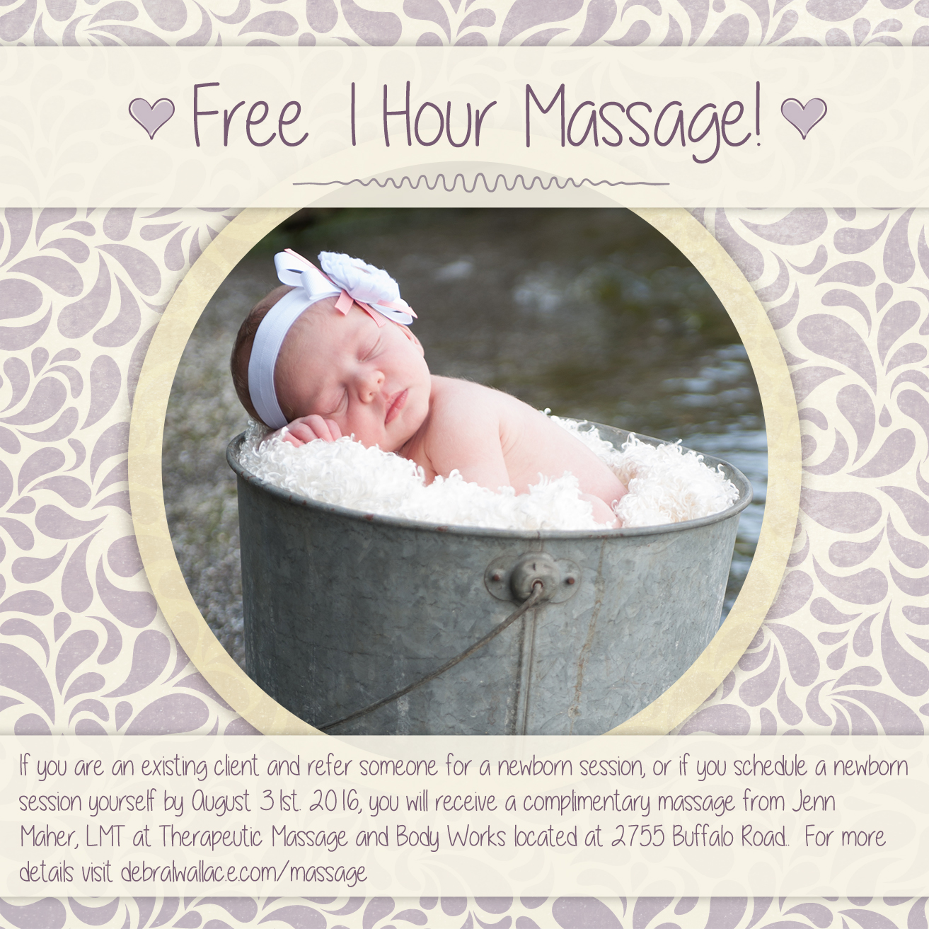 free one hour massage with your newborn session