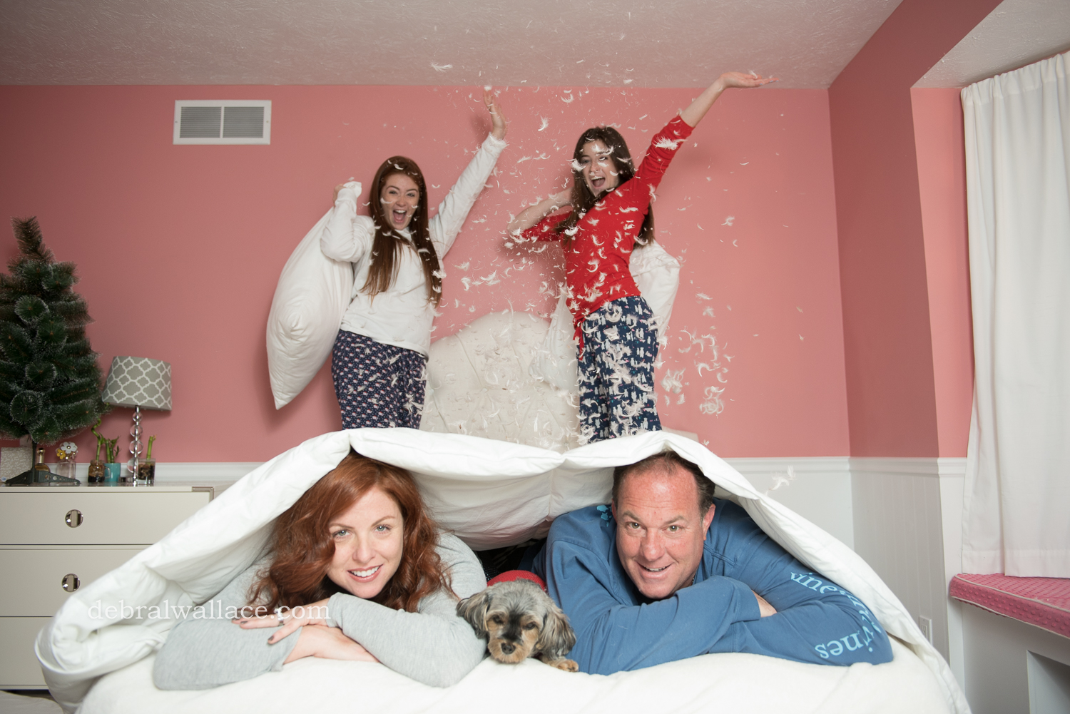Pillow Fight Themed Family Photography rochester ny